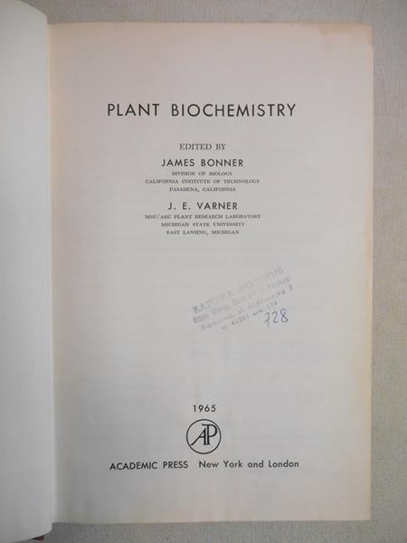 Bonner James (red.) - Plant Biochemistry