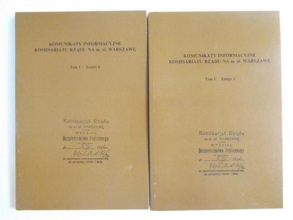 Komunikaty Informacyjne Komisariatu Rządu na miasto stołeczne Warszawę, Tom I, Zeszyt 1-2