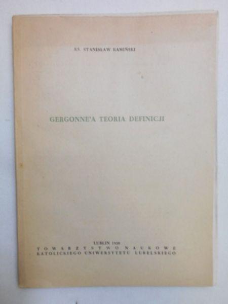 Kamiński Stanisław - Gergonne'a teoria definicji