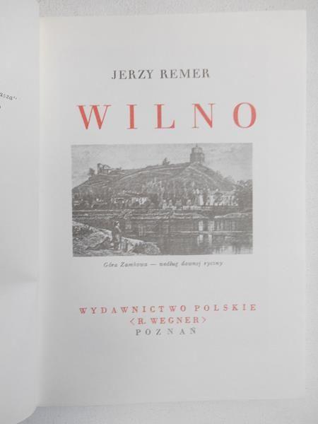 Remer Jerzy  -  Wilno, reprint z 1934 r.