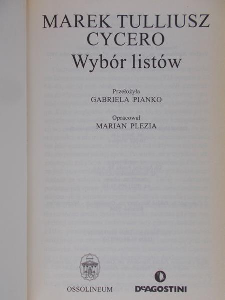 Cycero Marek Tulliusz - Wybór listów