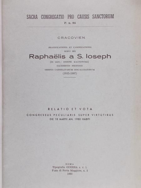 Raphaelis a S.Ioseph - Relatio Et Vota