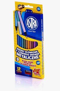 Kredki ołówkowe z czarngo drewna metaliczne 12 kolorów
