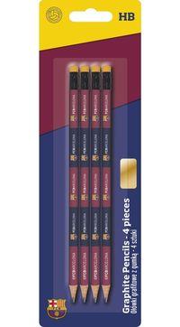Ołówek trójkątny z gumką HB 4 sztuki FC Barcelona