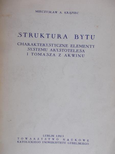 Krąpiec Mieczysław A. - Struktura bytu