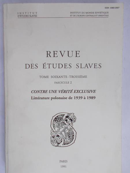 Włodarczyk Helene - Revue des etudes slaves