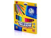 Kredki ołówkowe trójkątne ASTRA 24 kolory