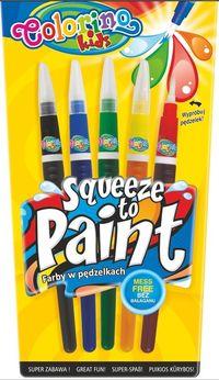Farby w pędzelkach Colorino Kids Squeeze to paint 5 kolorów