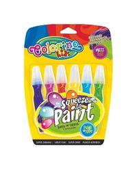 Farby w tubach z pędzelkiem Colorino Kids Squeeze to paint 6 kolorów
