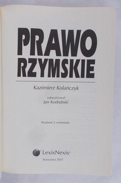 Kolańczyk Kazimierz - Prawo rzymskie