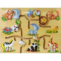 Labirynt drewniany ze zwierzakami