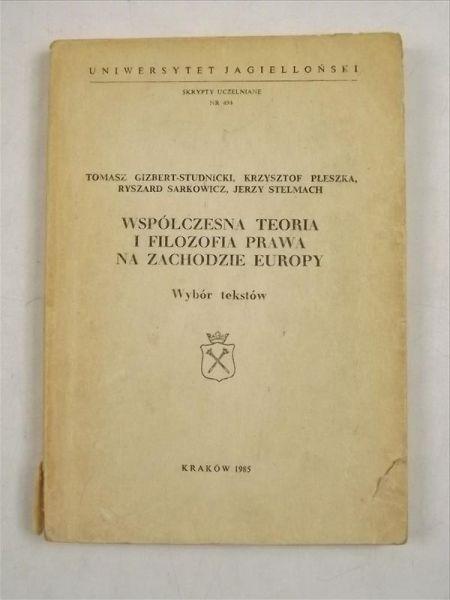 Współczesna teoria i filozofia prawa na Zachodzie Europy