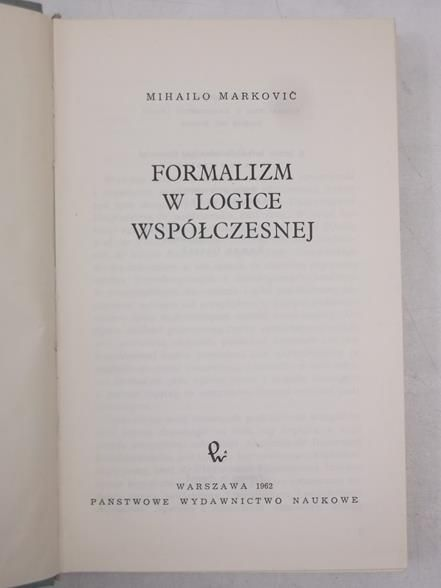 Formalizm w logice współczesnej