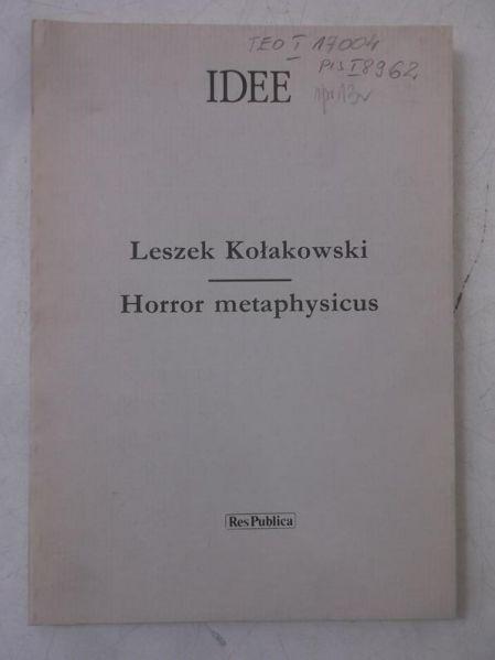 Kołakowski Leszek - Horror metaphysicus