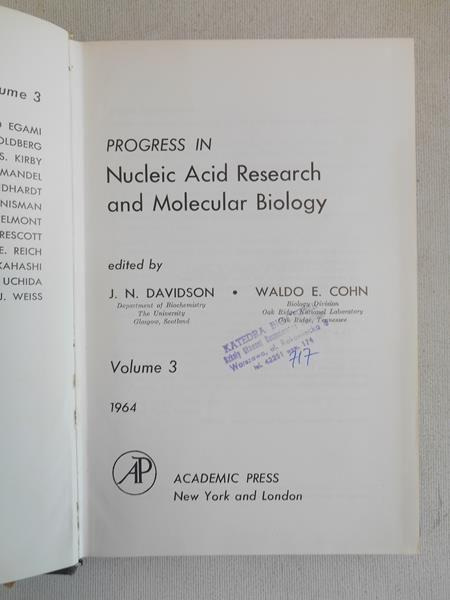 Davidson J.N. - Progress in Nucleic Acid Research and Molecular Biology