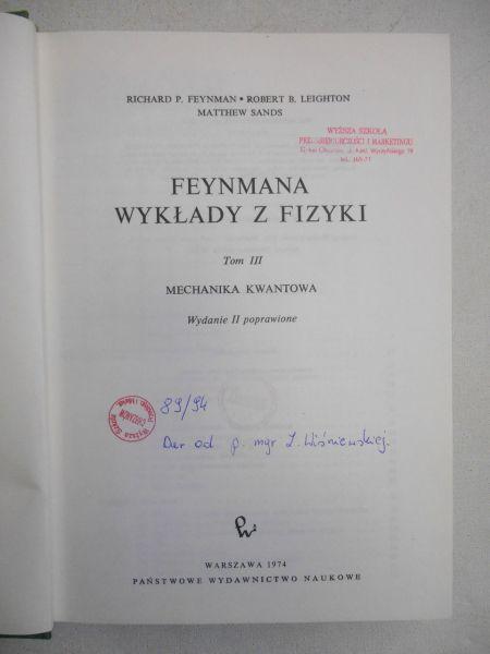 Feymana wykłady z fizyki, tom 3
