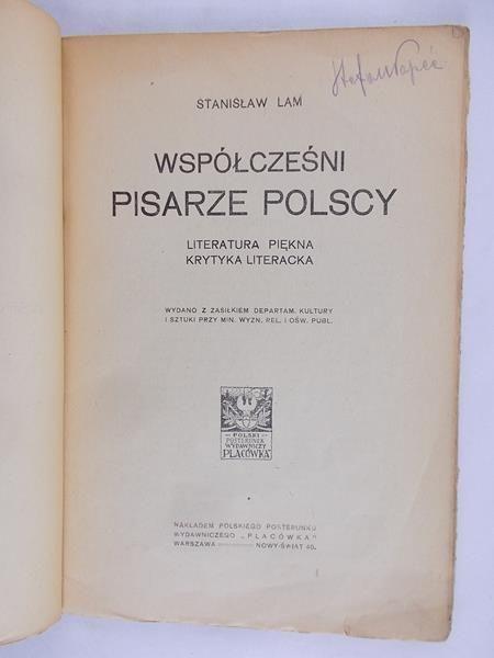 Lam Stanisław - Współcześni Pisarze Polscy 1918 r.