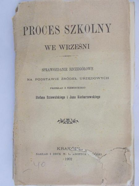 Proces Szkolny We Wrześni 1902 R Dziewulski Stefan