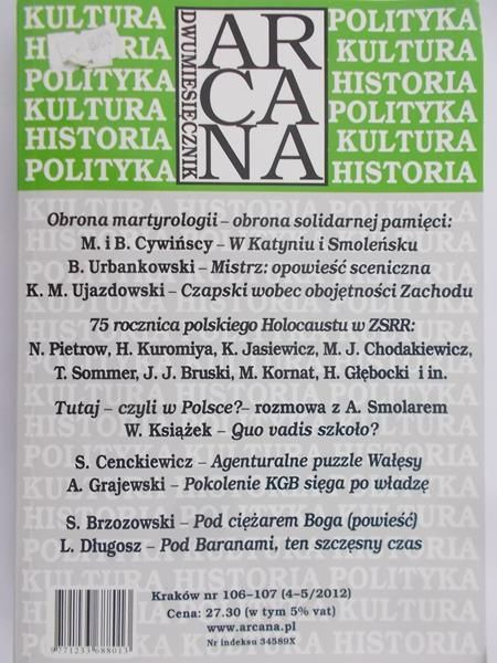 Dawidowicz Zuzanna (red.) - Dwumiesięcznik Arcana nr 106-107 (4-5/2012)