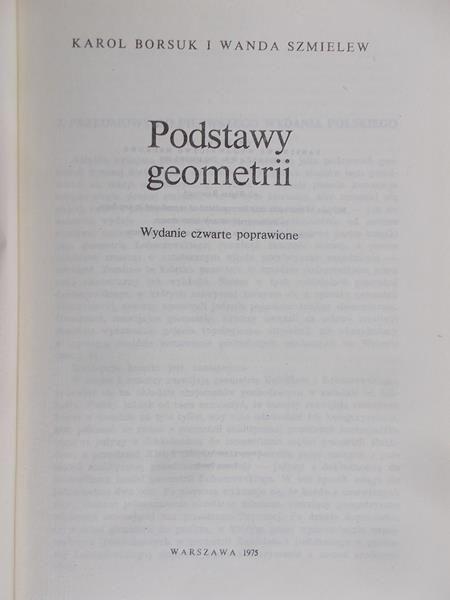 Borsuk Karol - Podstawy geometrii