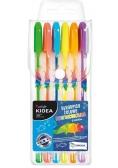 Długopisy żelowe Fluo 6 kolorów KIDEA