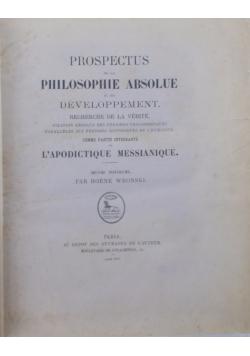 Prospectus de la Philosophie Absolue et son développement, 1878 r.