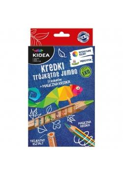 Kredki trójkątne grube eko 12 kolorów KIDEA