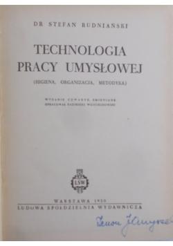 Technologia pracy umysłowej, 1950 r.