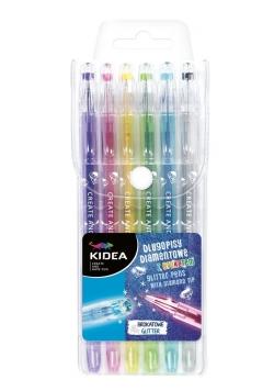Długopisy diamentowe z brokatem 6 kolorów KIDEA