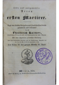 Ersten Martirer, 1833 r.