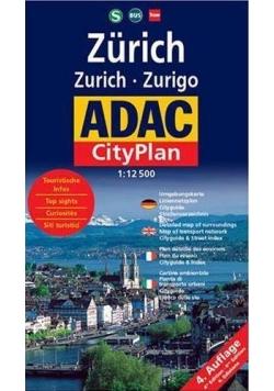 CityPlan ADAC. Zurich 1:12 500 plan miasta
