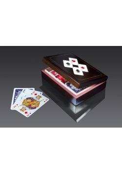 Karty lux w pudełku drewnianym z asami 1 PIATNIK