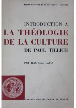 Introduction à la théologie de la culture de Paul Tillich