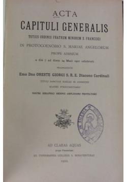 Acta Capituli Generalis, 1922 r.