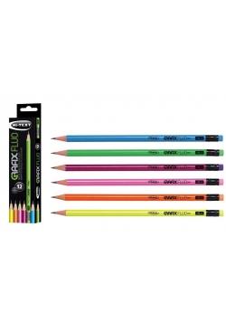 Ołówki Grafix Fluo HB (12szt) FIBRACOLOR
