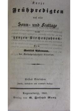 Kurze Fruhpredigten. 1841 r.