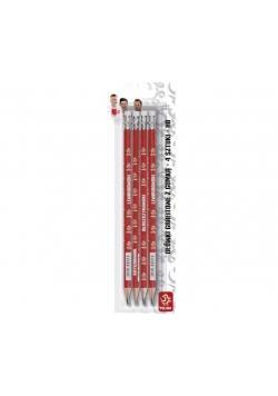 Ołówek trójkątny z gumką HB 4 szt. PZPN ASTRA