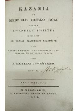 Kazania na niedziele całego roku, tom II, 1834 r.