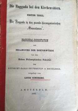 Die Haggada bei den Kirchenvatern, 1899 r.