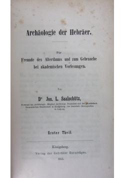 Archaologie der Hebraer,1855r.
