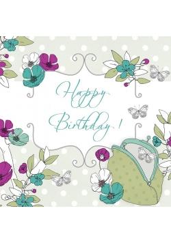 Karnet Swarovski kwadrat CL1508 Urodziny motyle