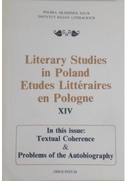 Literary studies in Poland Etudes Litteraires en Pologne XIV