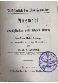Auswahl der vorzüglichsten patristischen werke, ok. 1875 r.