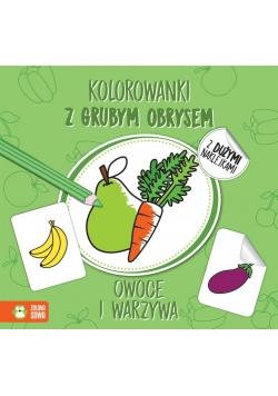 Kolorowanki z grubym obrysem. Owoce i warzywa