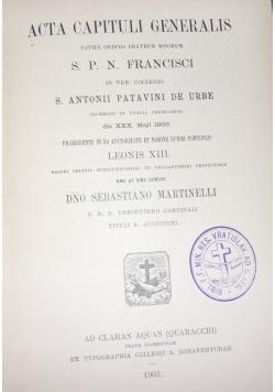 Acta Capituli Generalis, 1903 r.