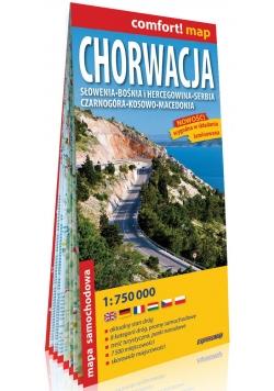 Chorwacja Słowenia, Bośnia i Hercegowina, Serbia, Czarnogóra, Kosowo, Macedonia laminowana mapa samochodowa