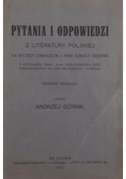 Pytania i odpowiedzi z literatury Polskiej, 1923r