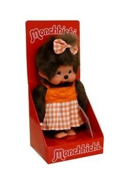 Monchhichi Dziewczynka w pomar. sukience i kokar.
