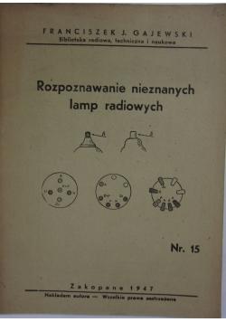 Rozpoznawanie nieznanych lamp radiowych, 1947 r.