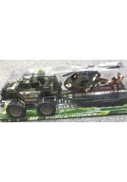 Auto wojskowe z lawetą+ helikopter